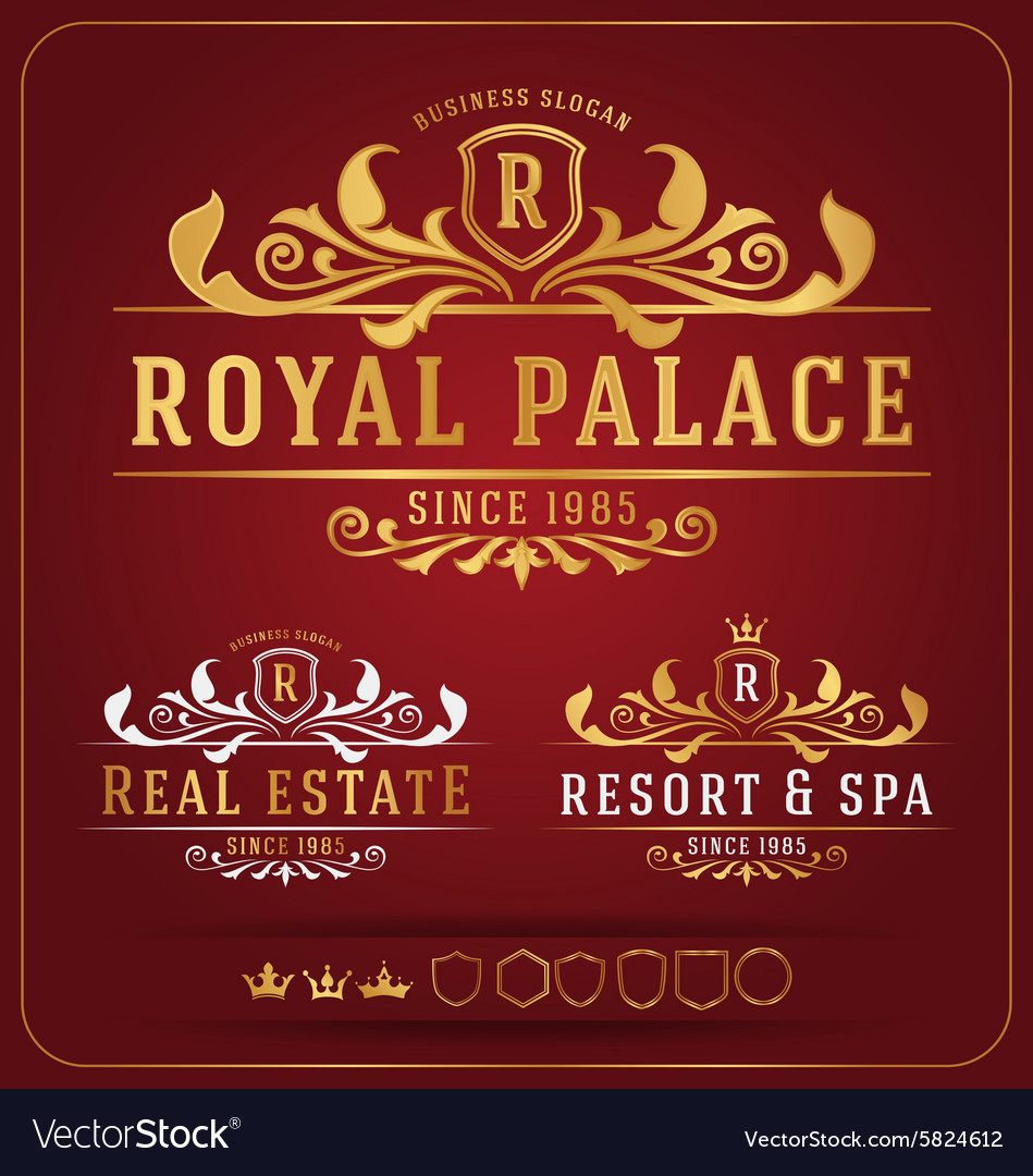 Luxurious royal logo resizable design template vector