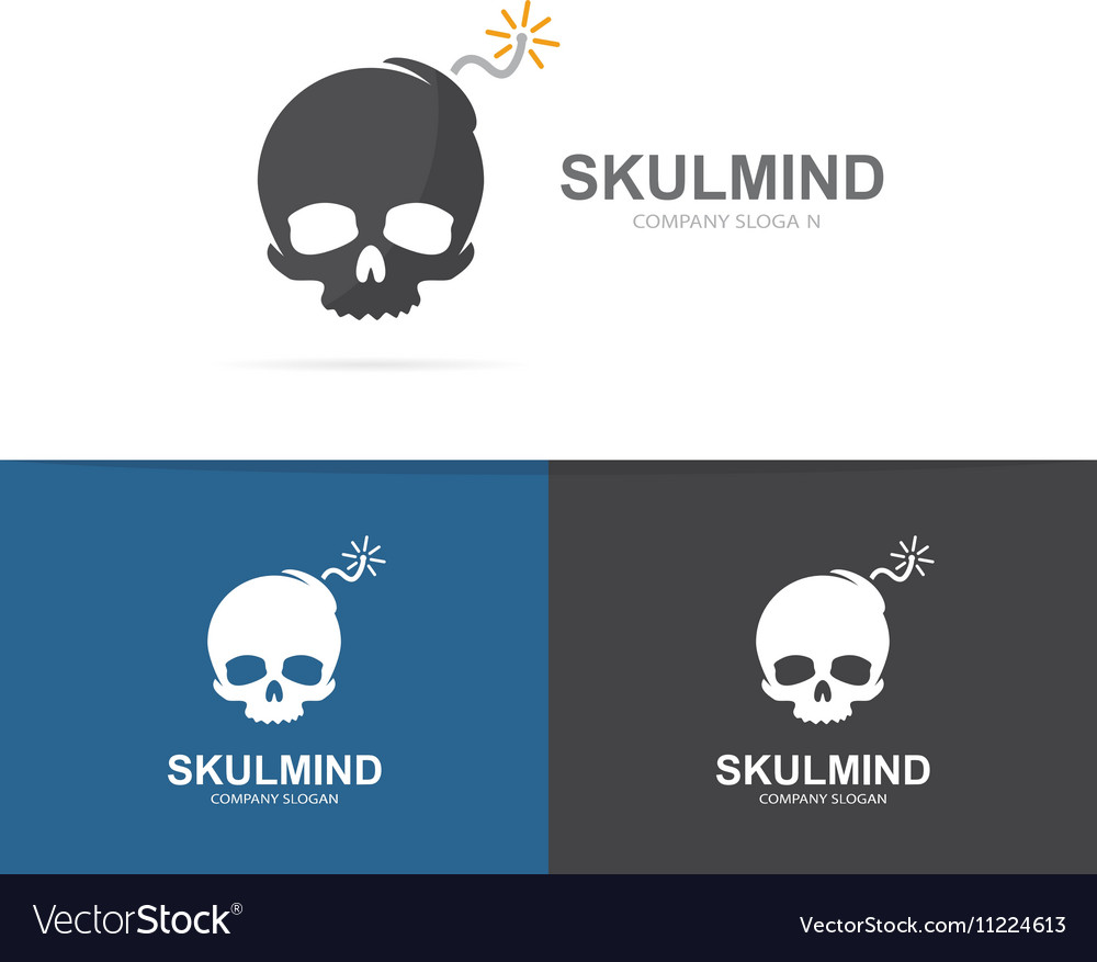 Logo combination of a skull and bomb vector