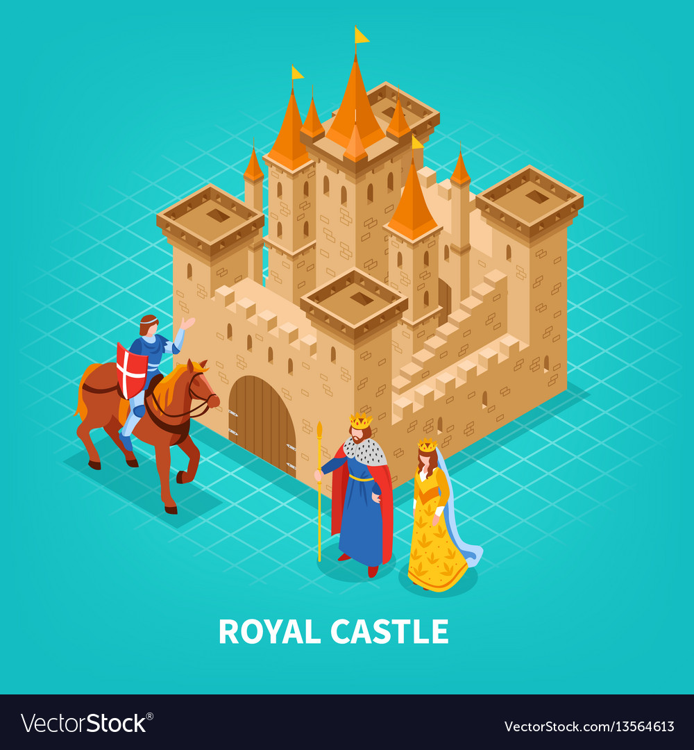 Royal castle isometric composition vector