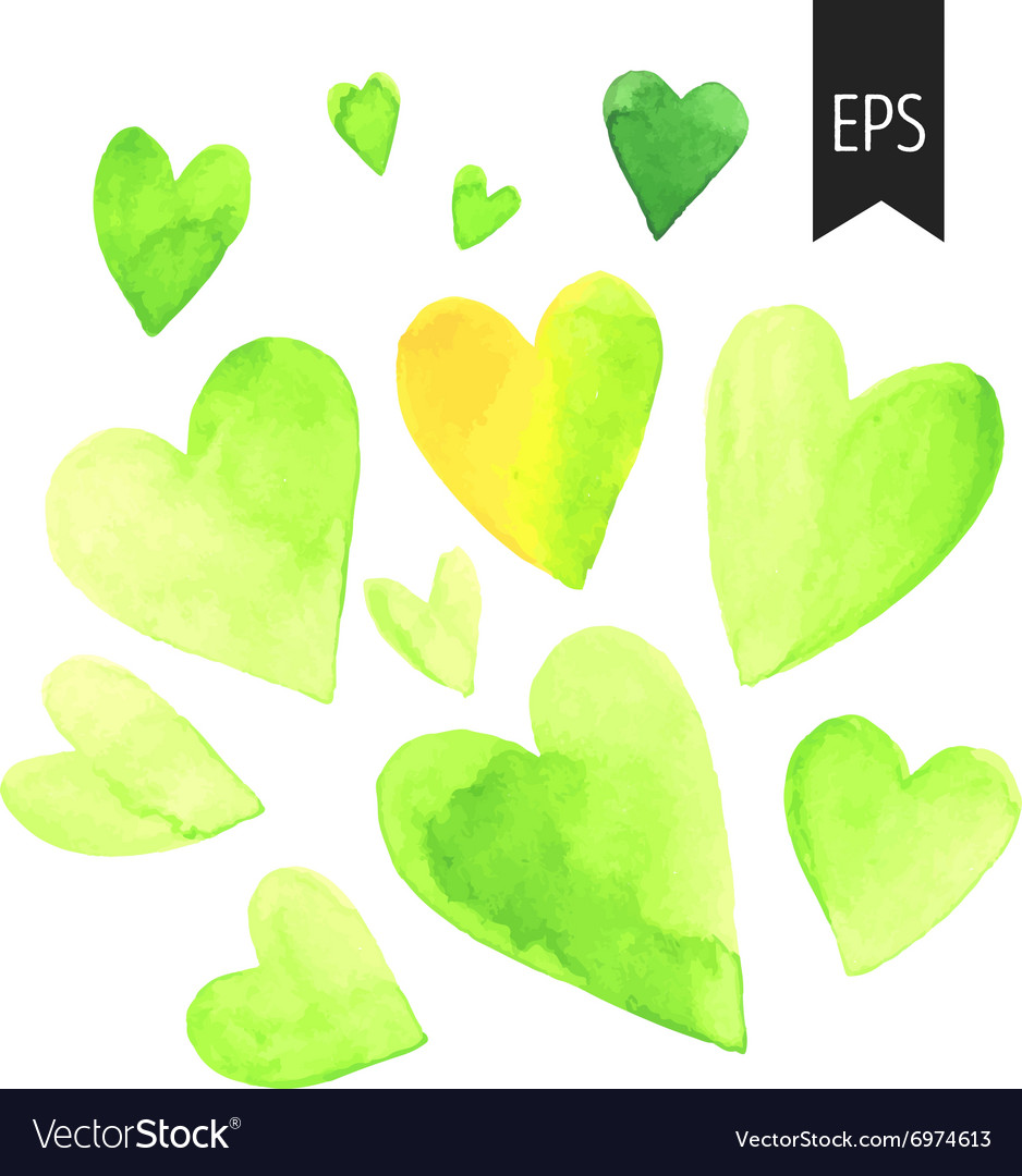 Set of watercolor green heart vector