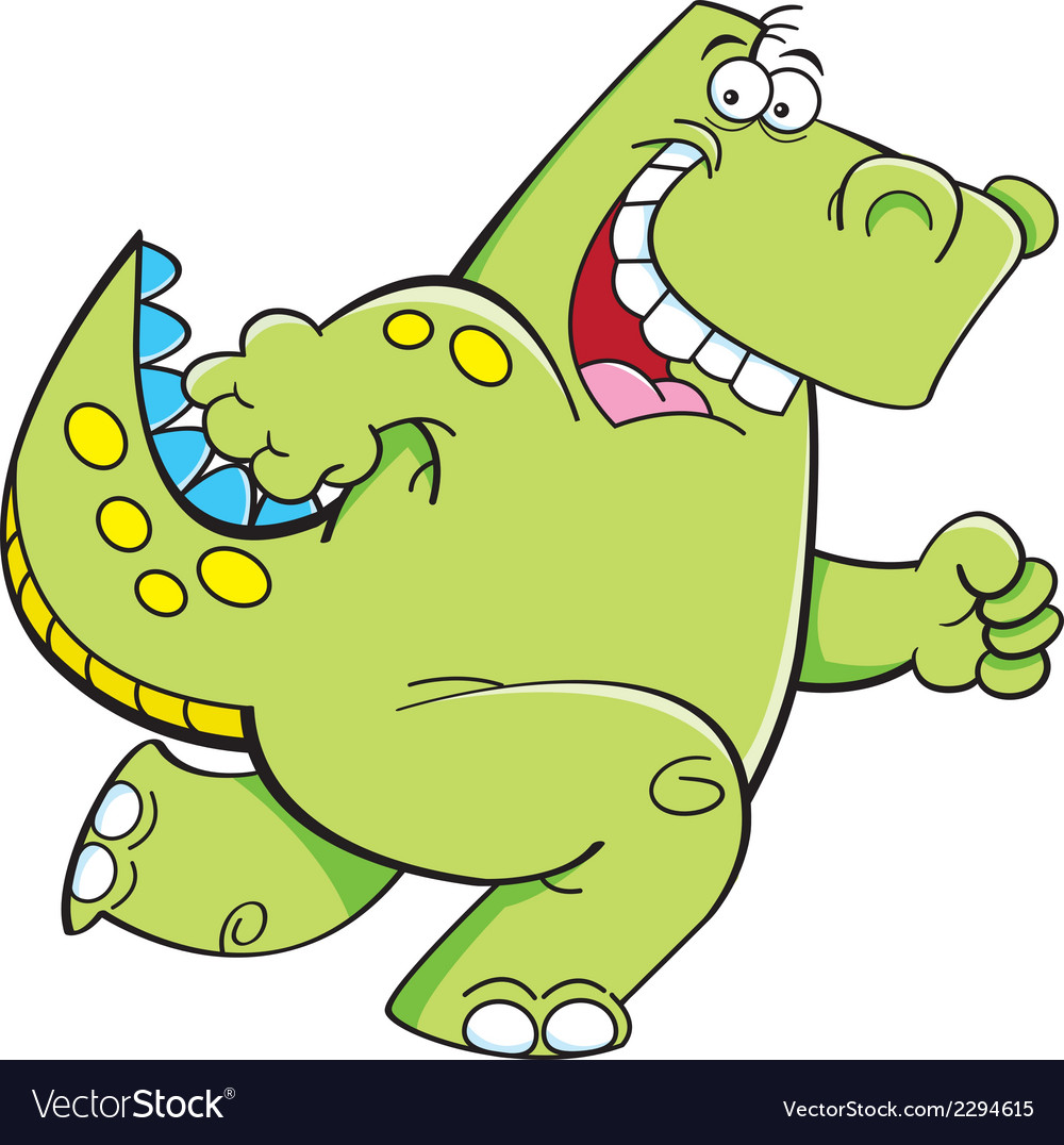 Cartoon running dinosaur vector