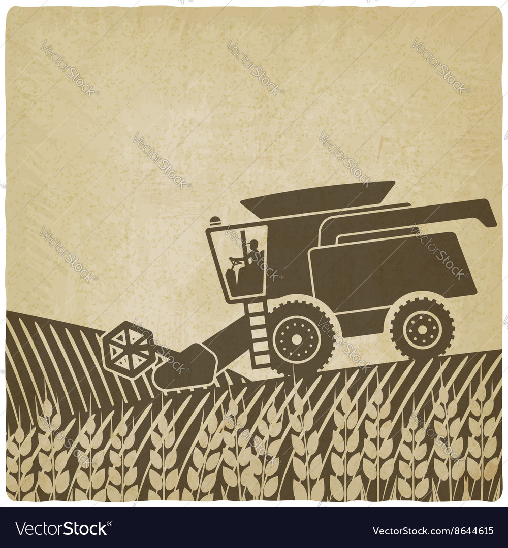 Combine harvester in field old background vector