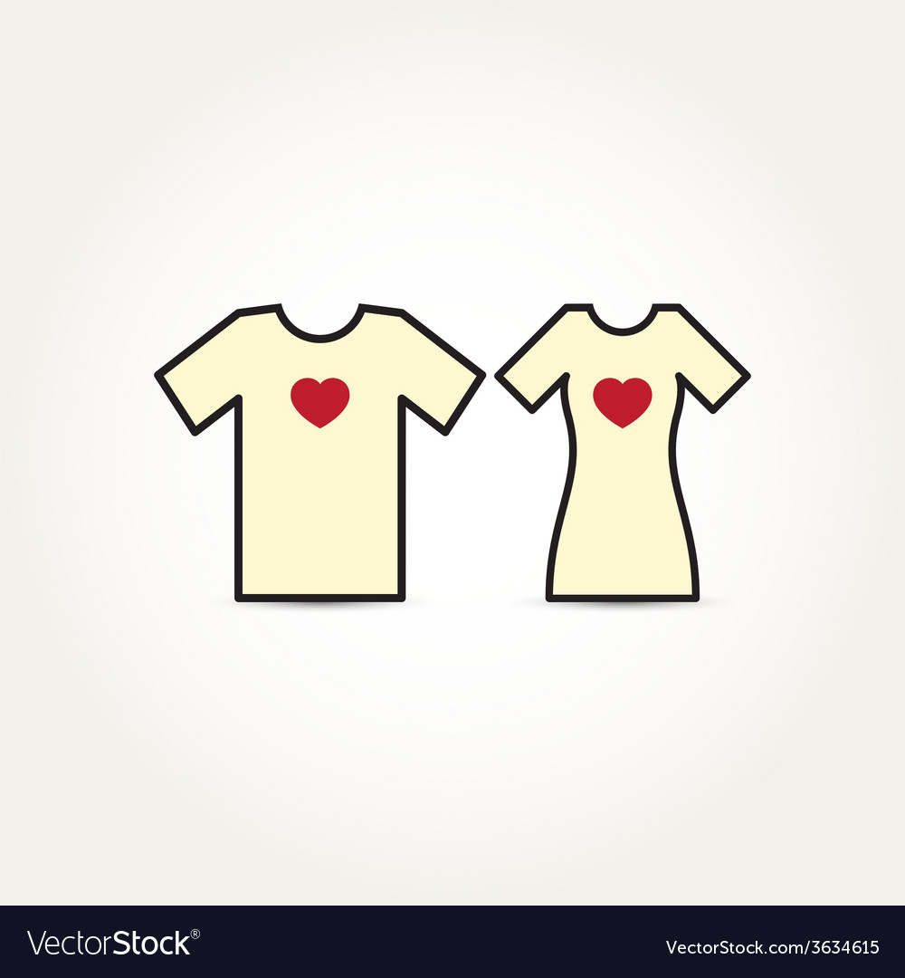 Love heart couple shirt vector