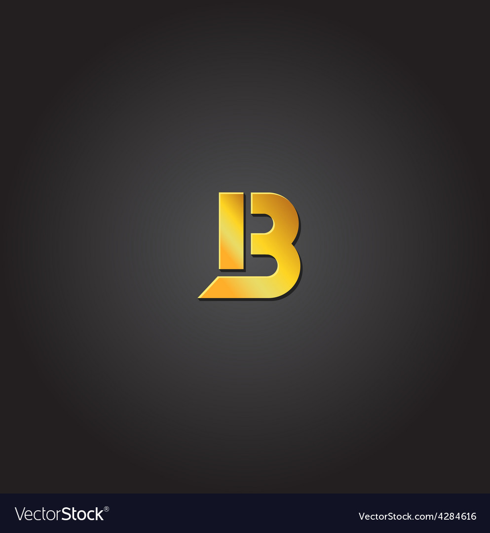 Letter b gold font template for company vector