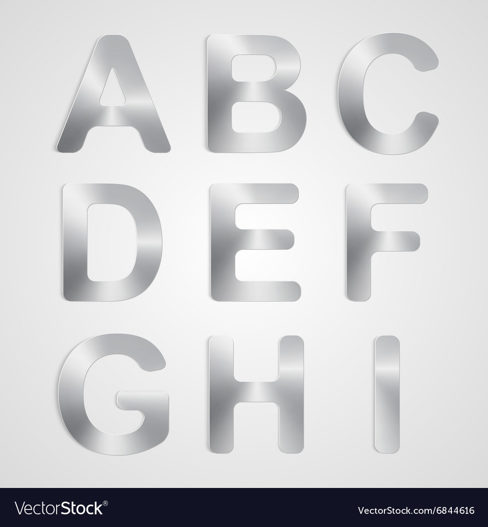 Metal alphabet set vector