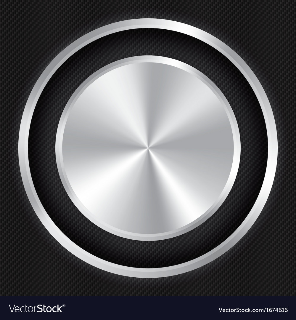 Metallic button on carbon fiber background vector