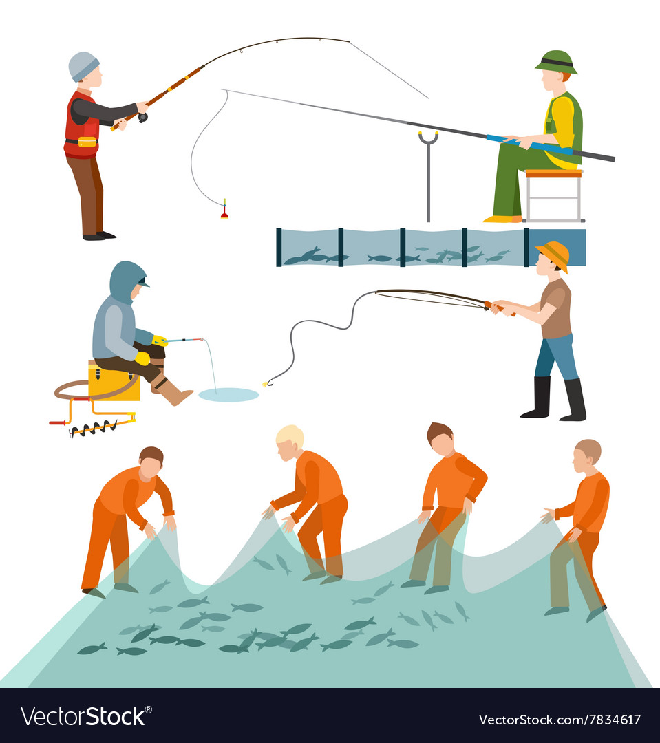 Fishing fishermen people vector