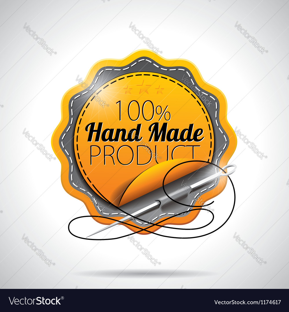 Hand made product labels with shiny styled design vector