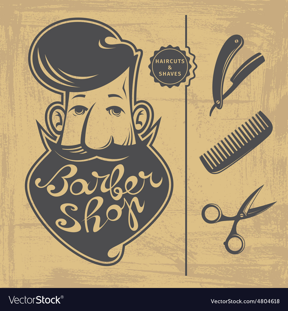 Barber shop design elements vector