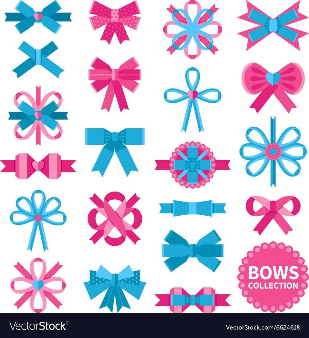 Flat bows collection vector
