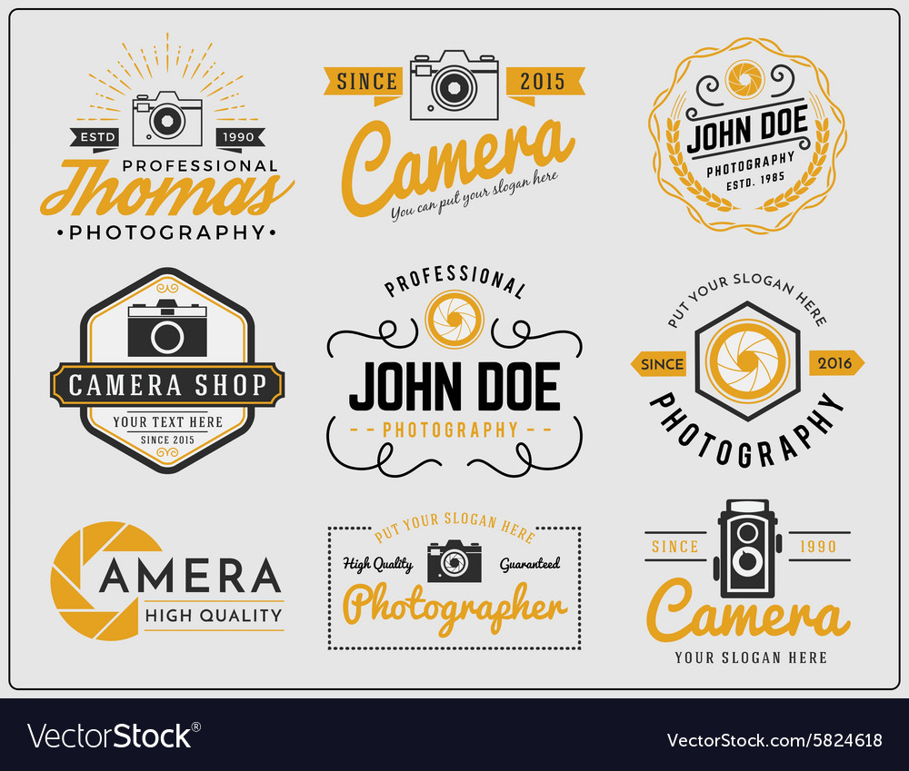 Set of photography and camera service logo vector