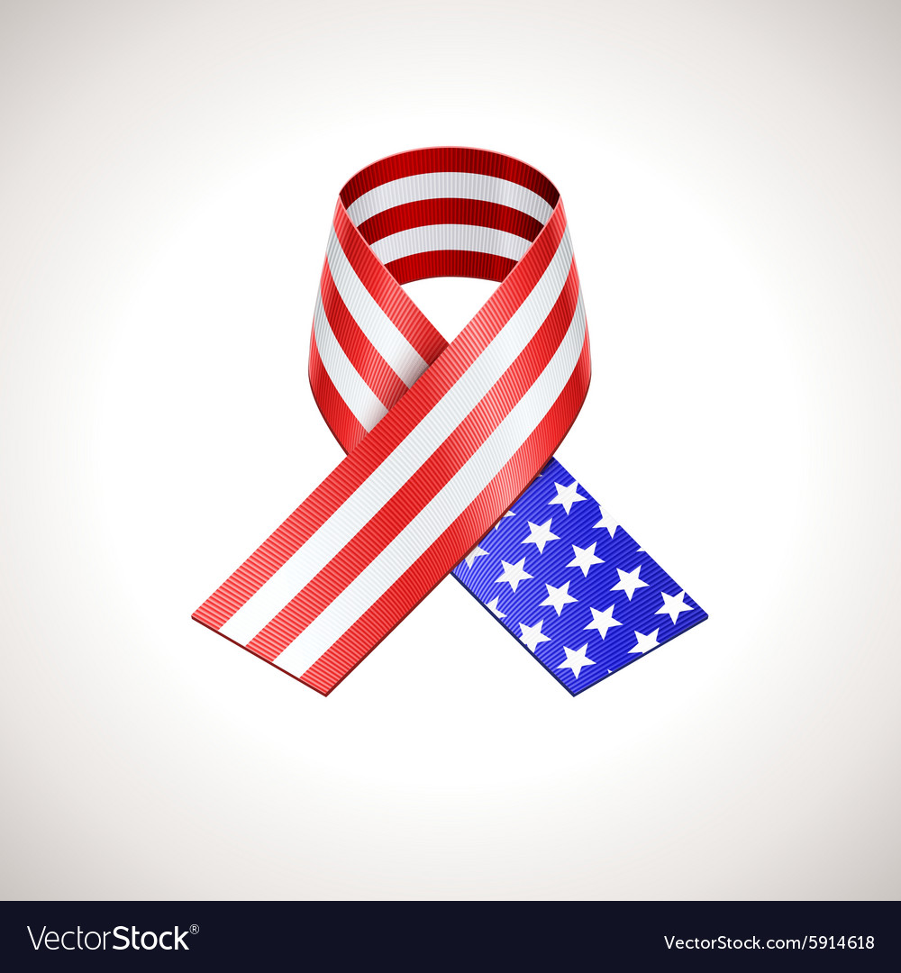 Usa flag ribbon american patriotic sign vector