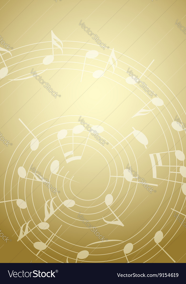 Bright music background with notes  golden vector