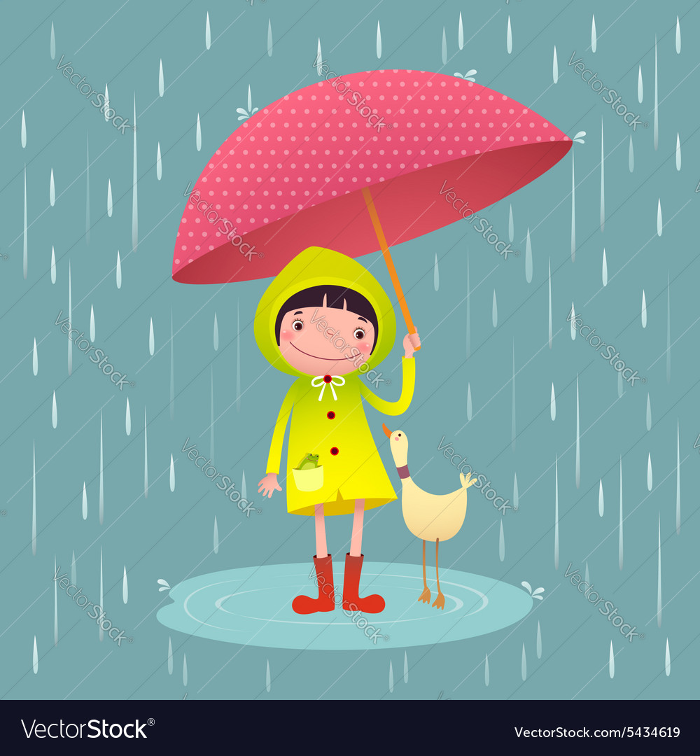 Cute girl and friends with red umbrella in rainy vector