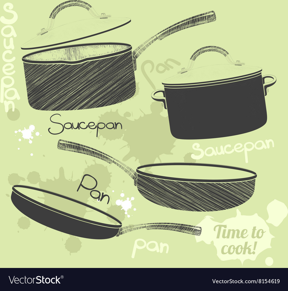 Pans and pots realistic set with frying pan vector