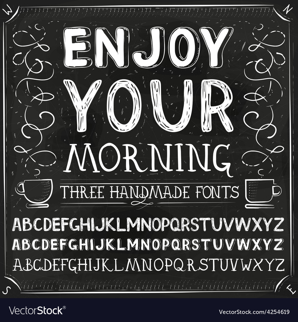 Three hand drawn fonts chalkboard alphabet vector