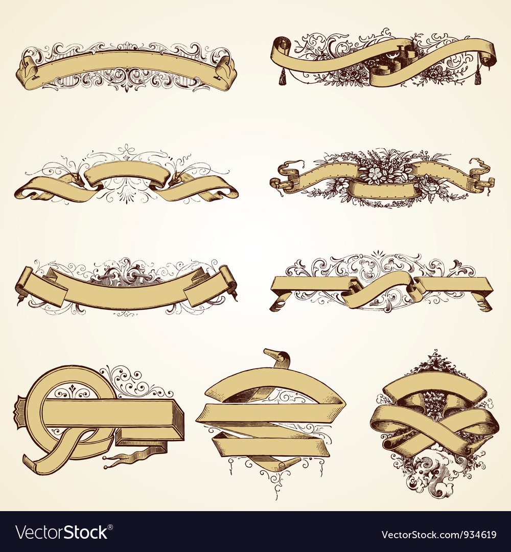 Vintage banner decorative set vector
