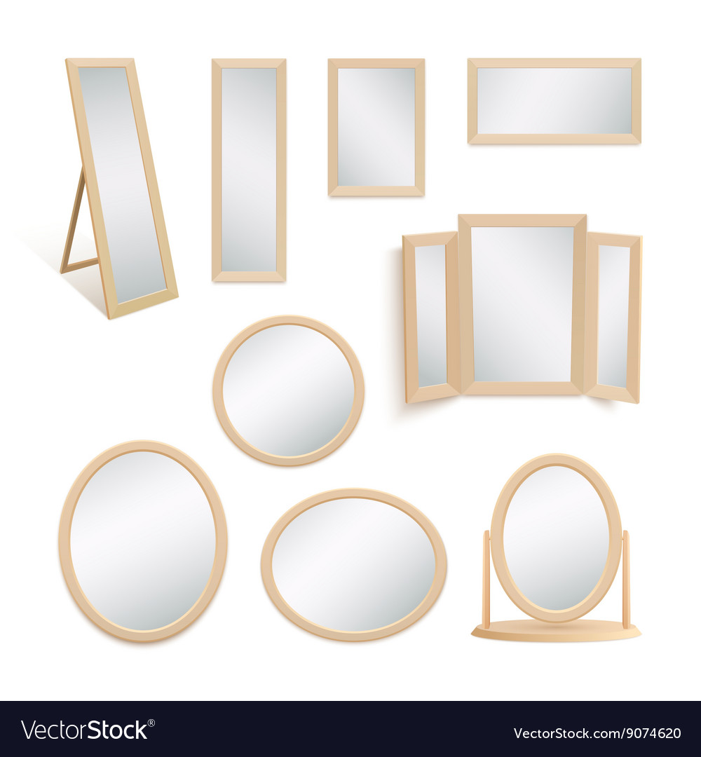 Set of mirrors isolated on white background vector