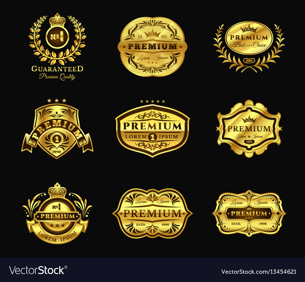 Golden badges stickers premium quality isolated vector