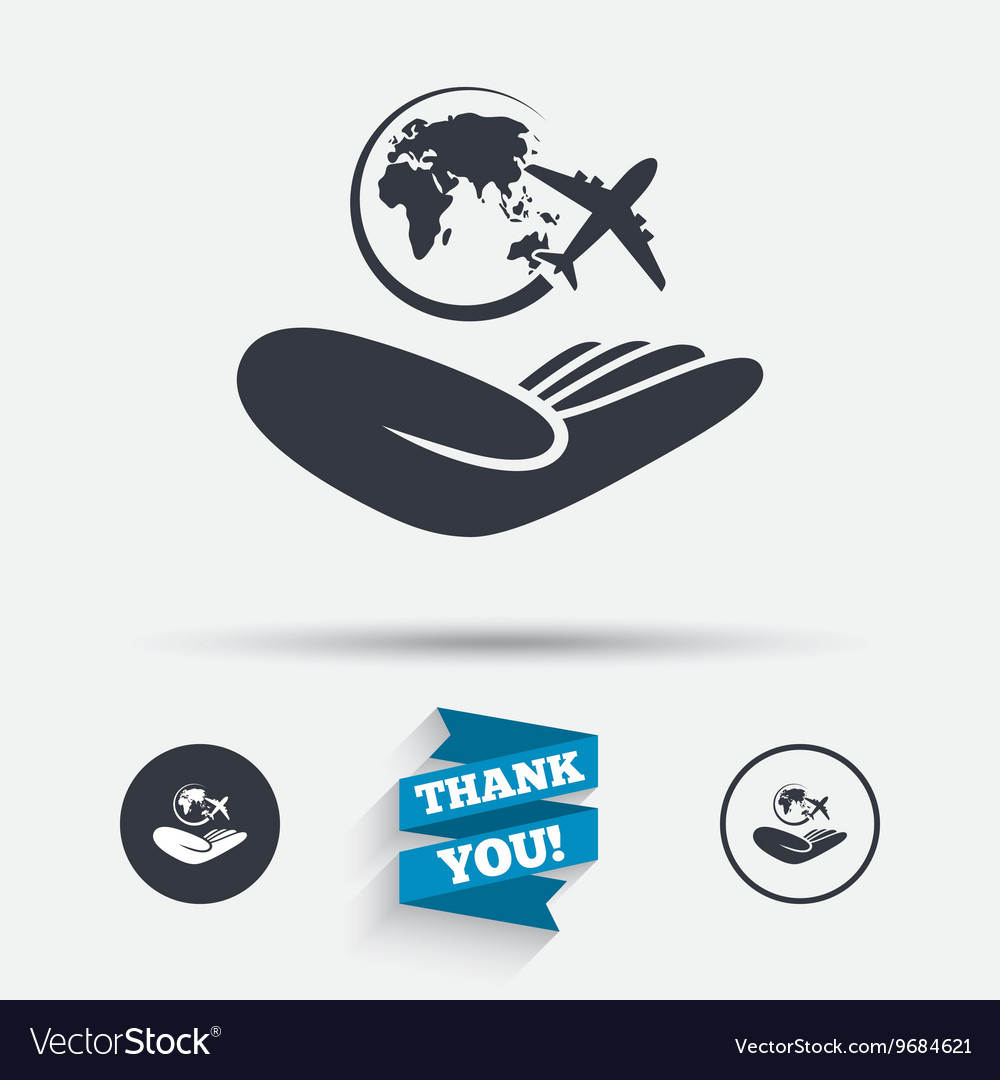 World trip insurance sign hand holds earth vector