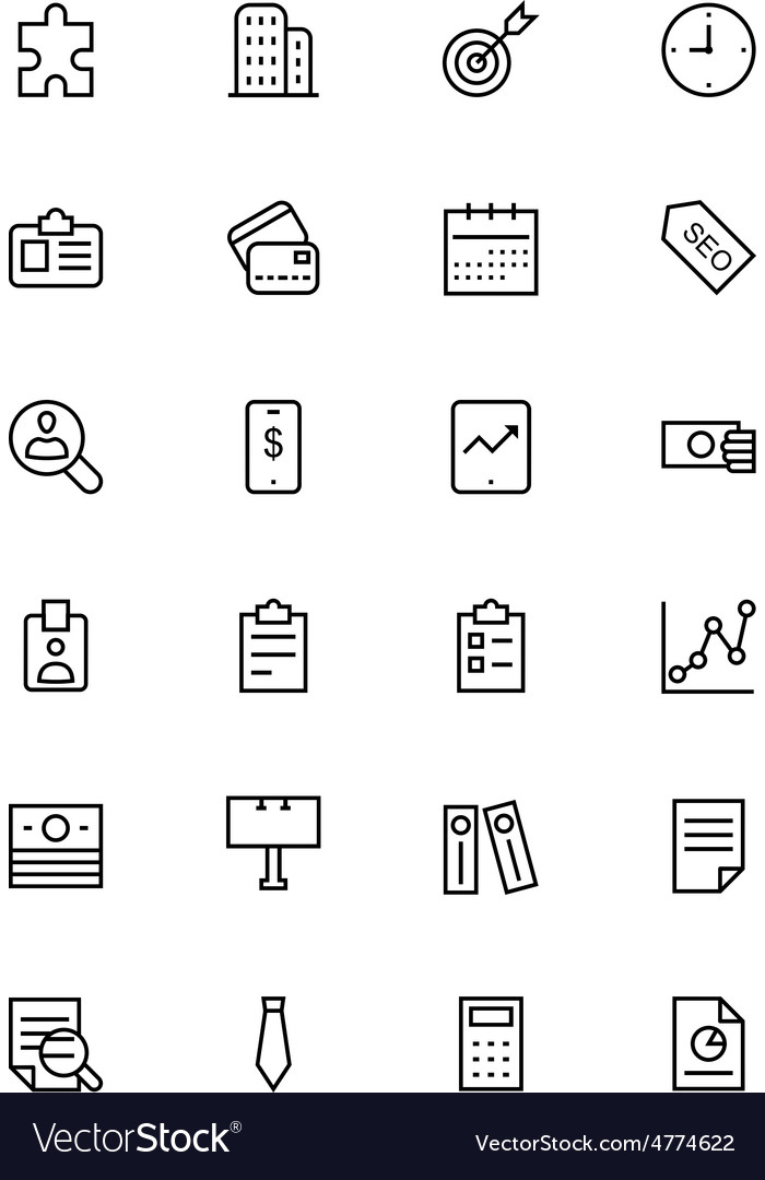 Business and finance line icons 2 vector