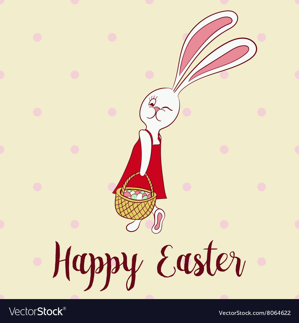 Happy easter poster rabbit girl keeps egg bascet vector