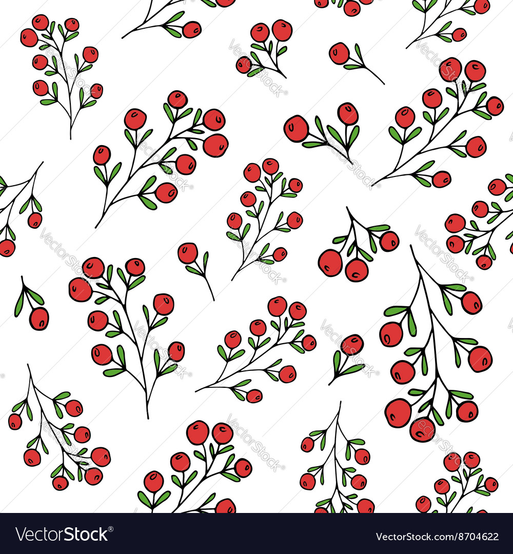 Red berries pattern seamless pattern vector