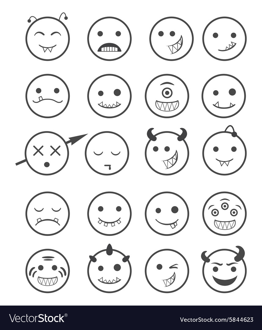 20 smiles vampires icons set black and white vector