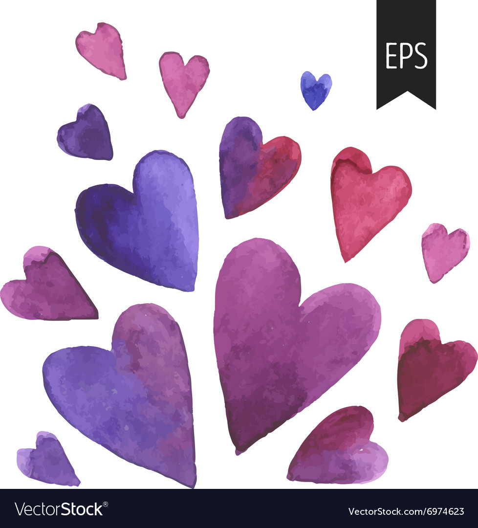 Set of purple watercolor hearts vector