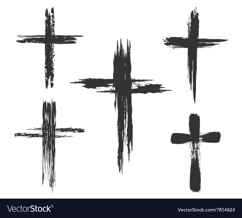 Brush painted cross icons vector