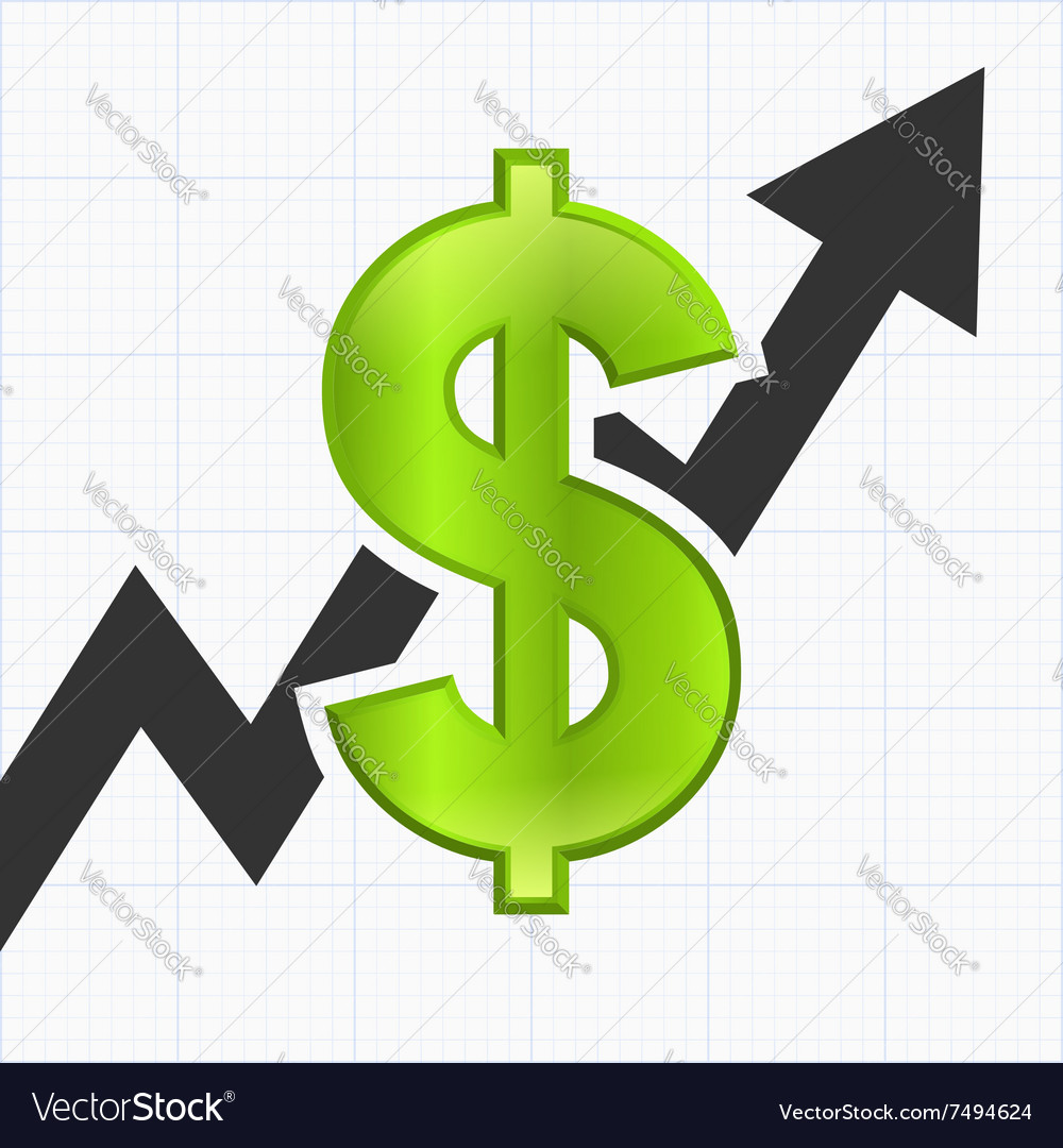 Dollar sign with graph chart vector
