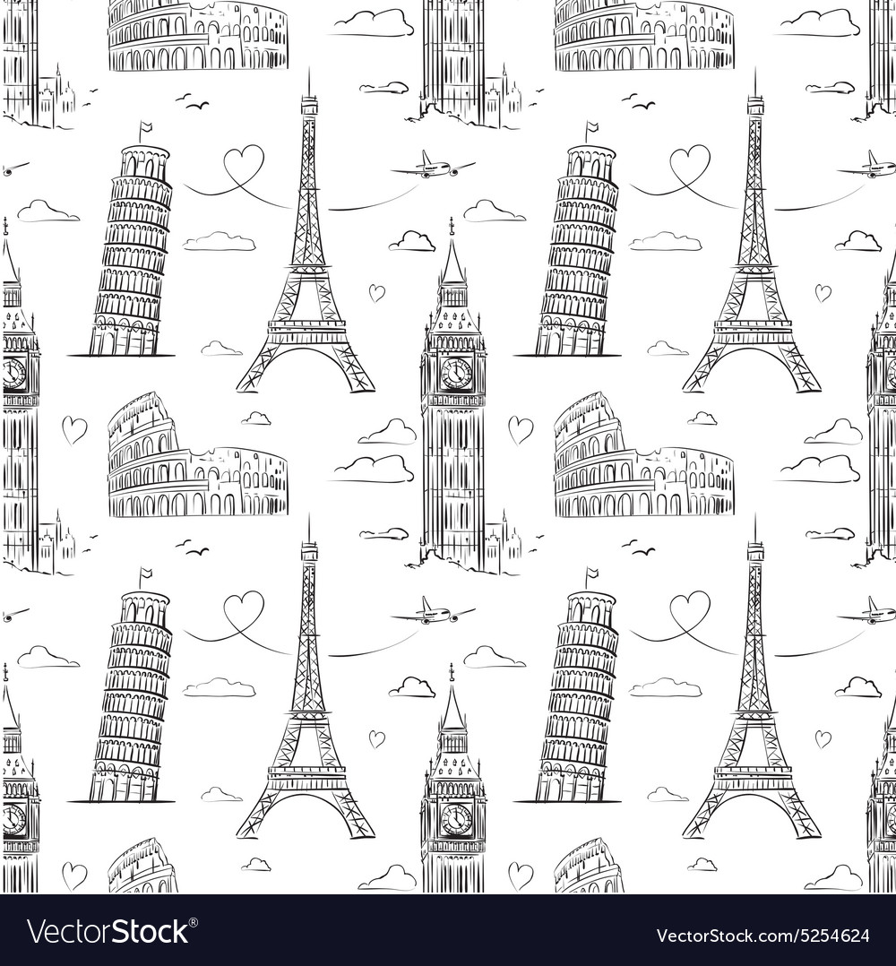 Hand drawn seamless pattern with sights of europe vector