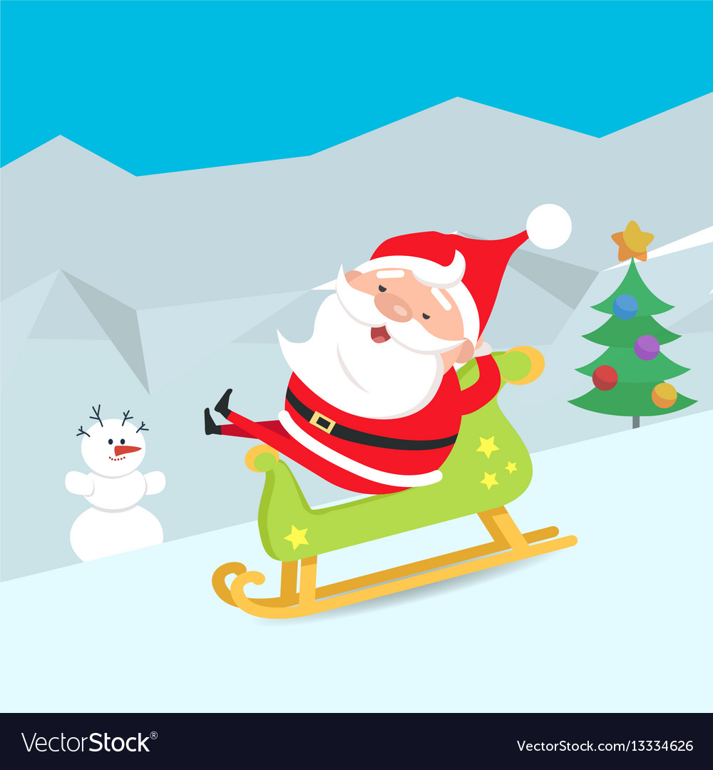 Cartoon santa claus riding a sleigh winter snow vector