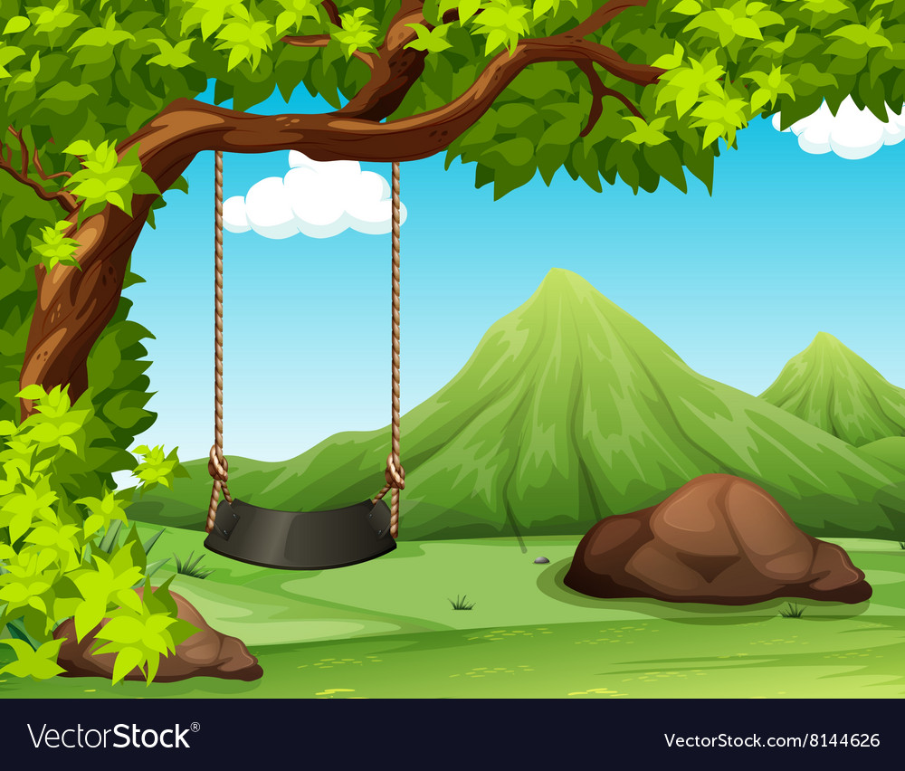 Nature scene with swing on the tree vector