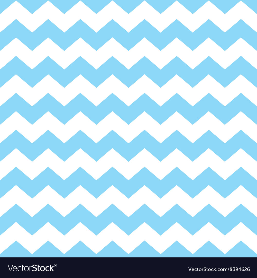 Tile pattern with pastel blue and white zig zag vector