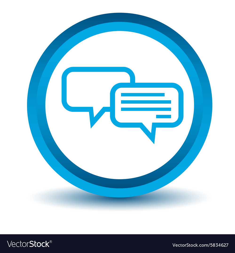 Chatting icon blue 3d vector
