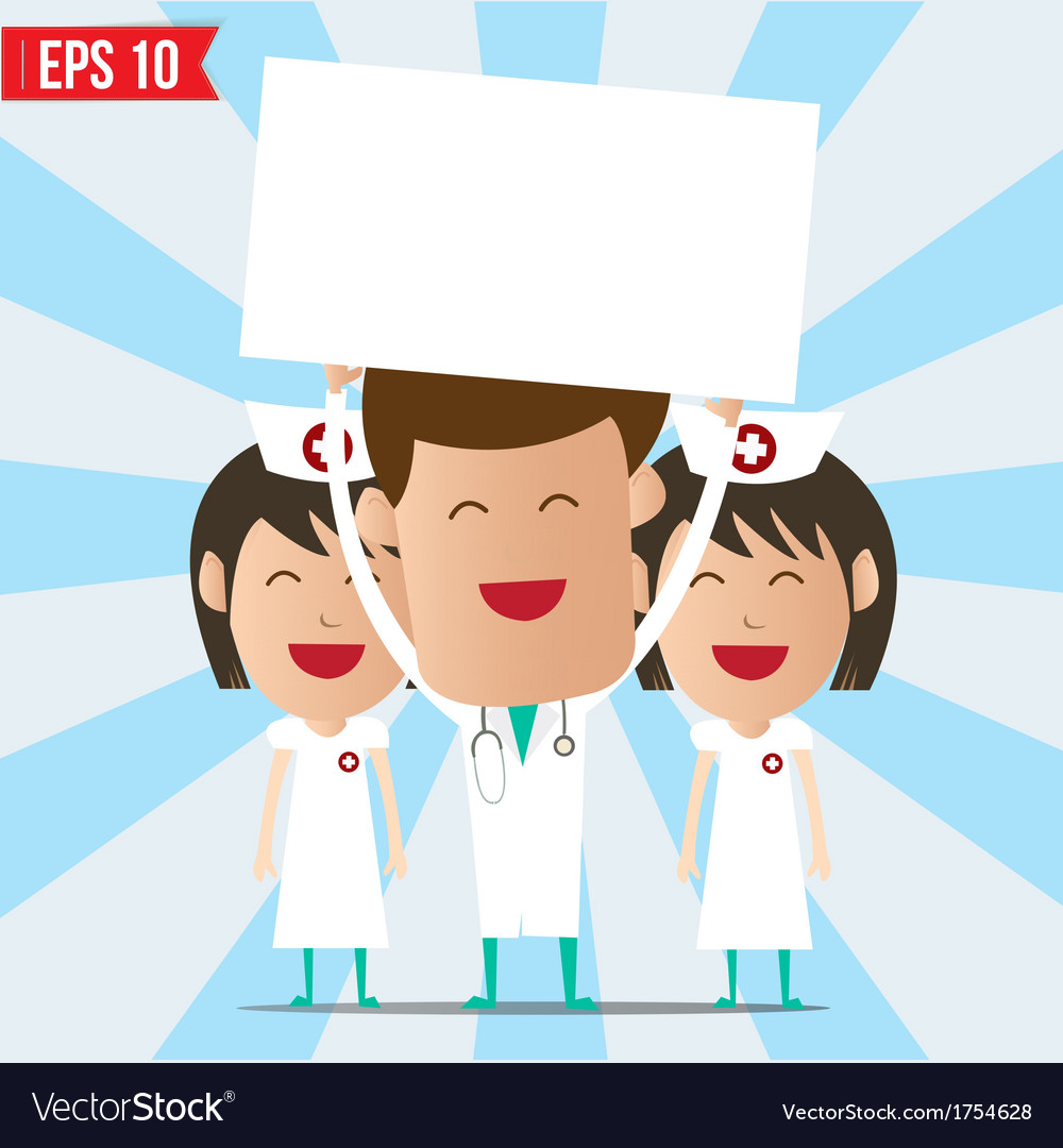Cartoon doctor and nurse smile and show twhite vector