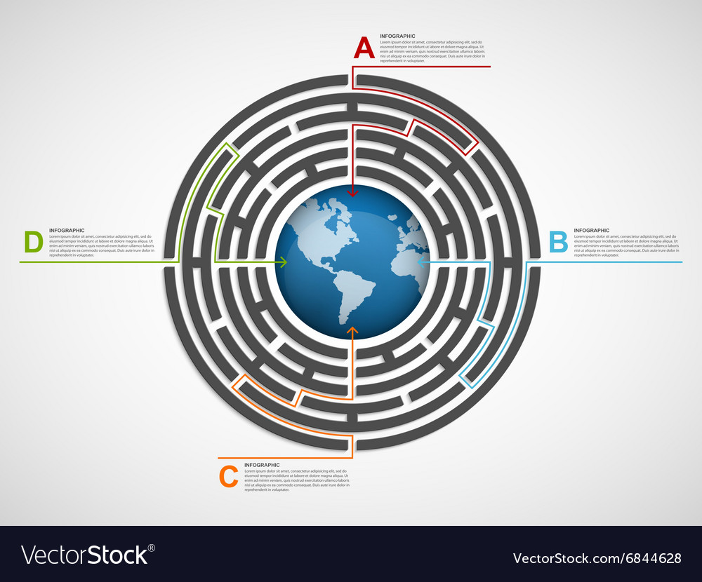 Circle labyrinth infographic design template vector