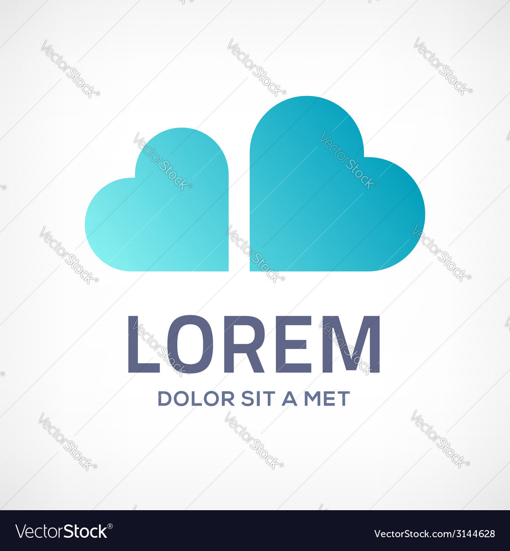 Heart cloud symbol logo icon vector