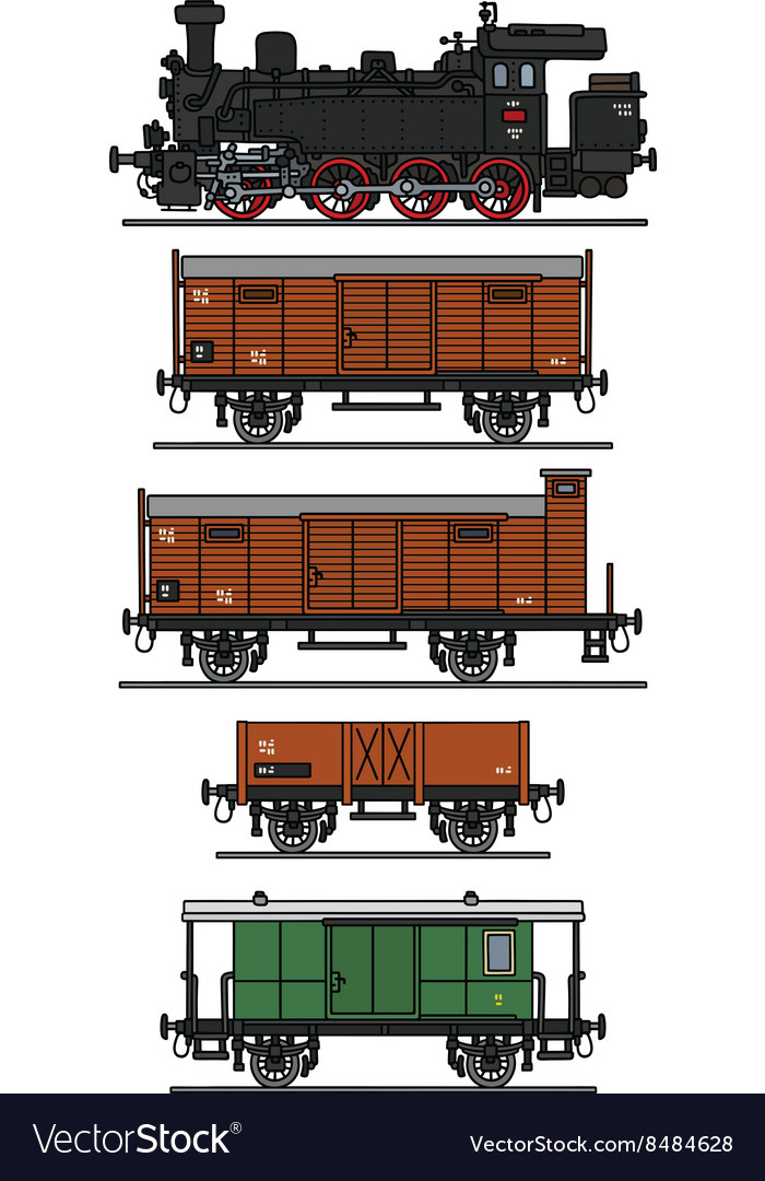 Old steam train vector