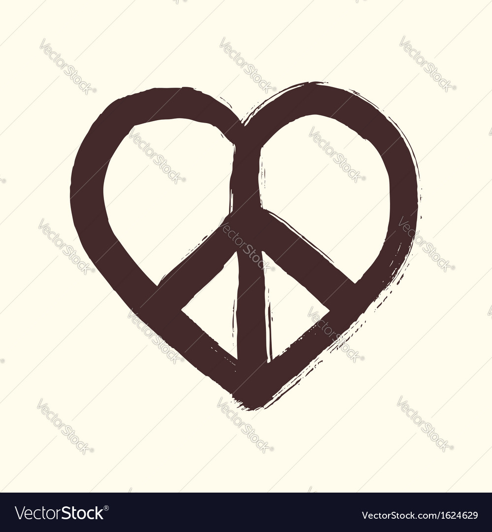 Isolated heart shape peace symbol brush style vector