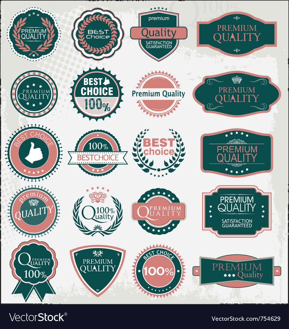 Retro quality labels vector