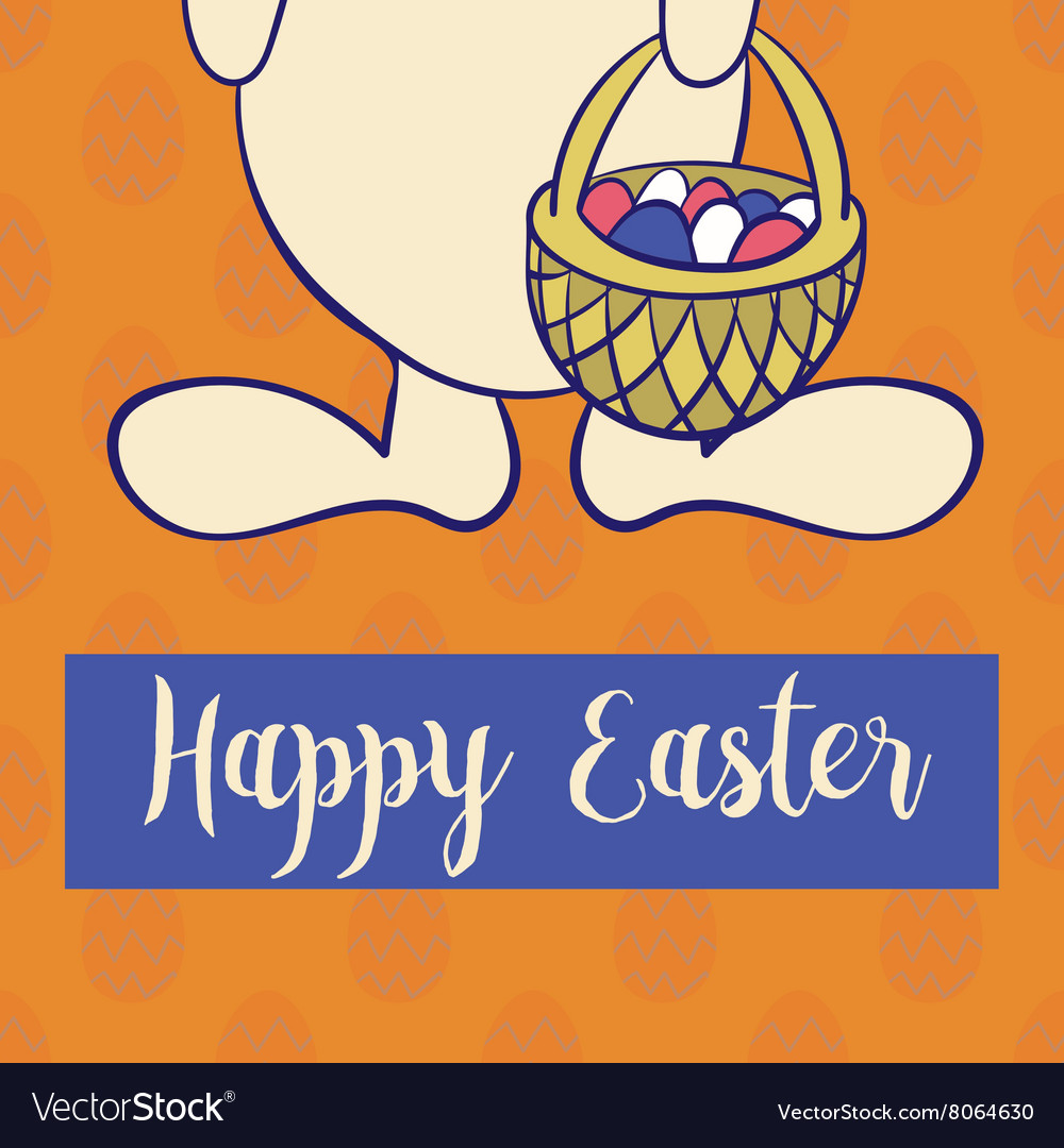 Happy easter poster rabbit boy keeps egg bascet vector