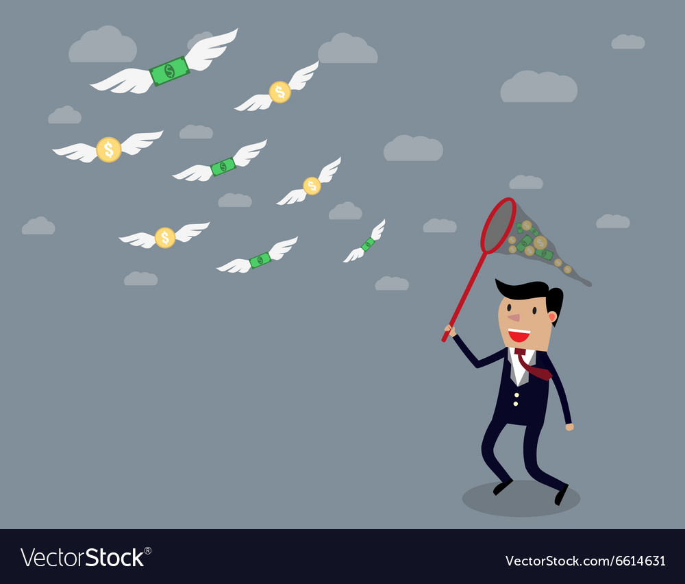 Businessman running with butterfly net vector