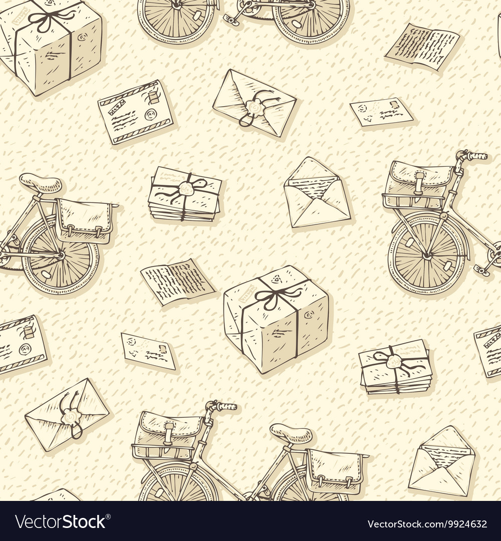 Seamless pattern with bicycles envelopes parcels vector
