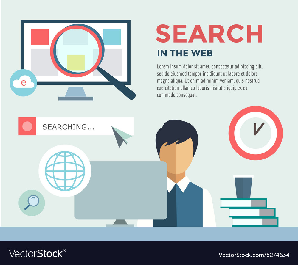 Clerk at work infographic office table search vector