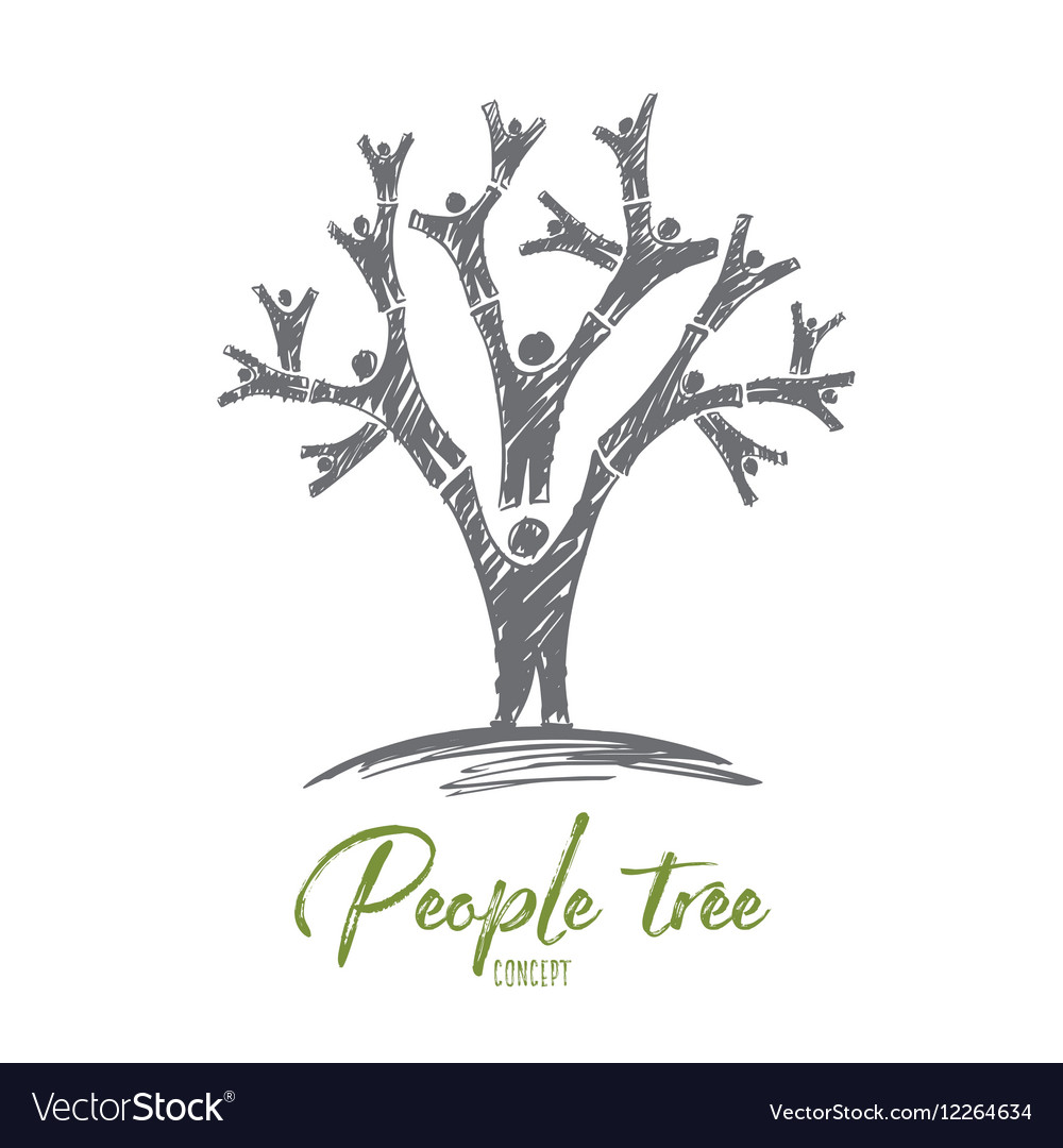 Hand drawn tree formed with human bodies vector