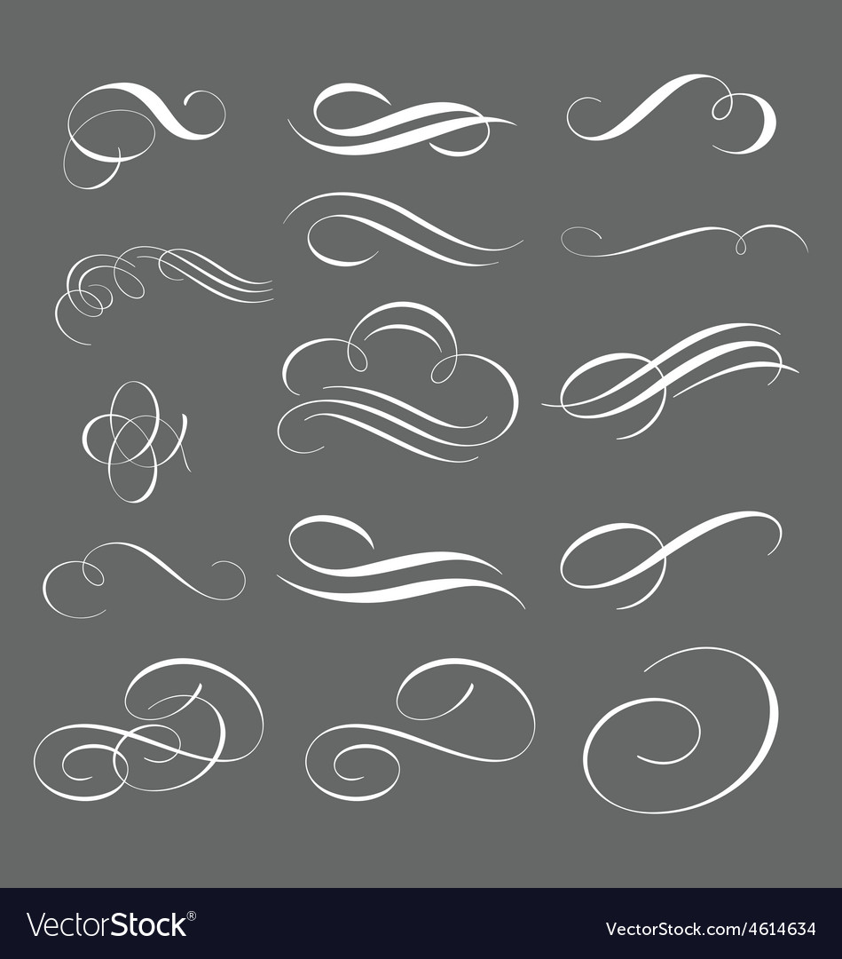 Set of decorative swirls and swoosh vector