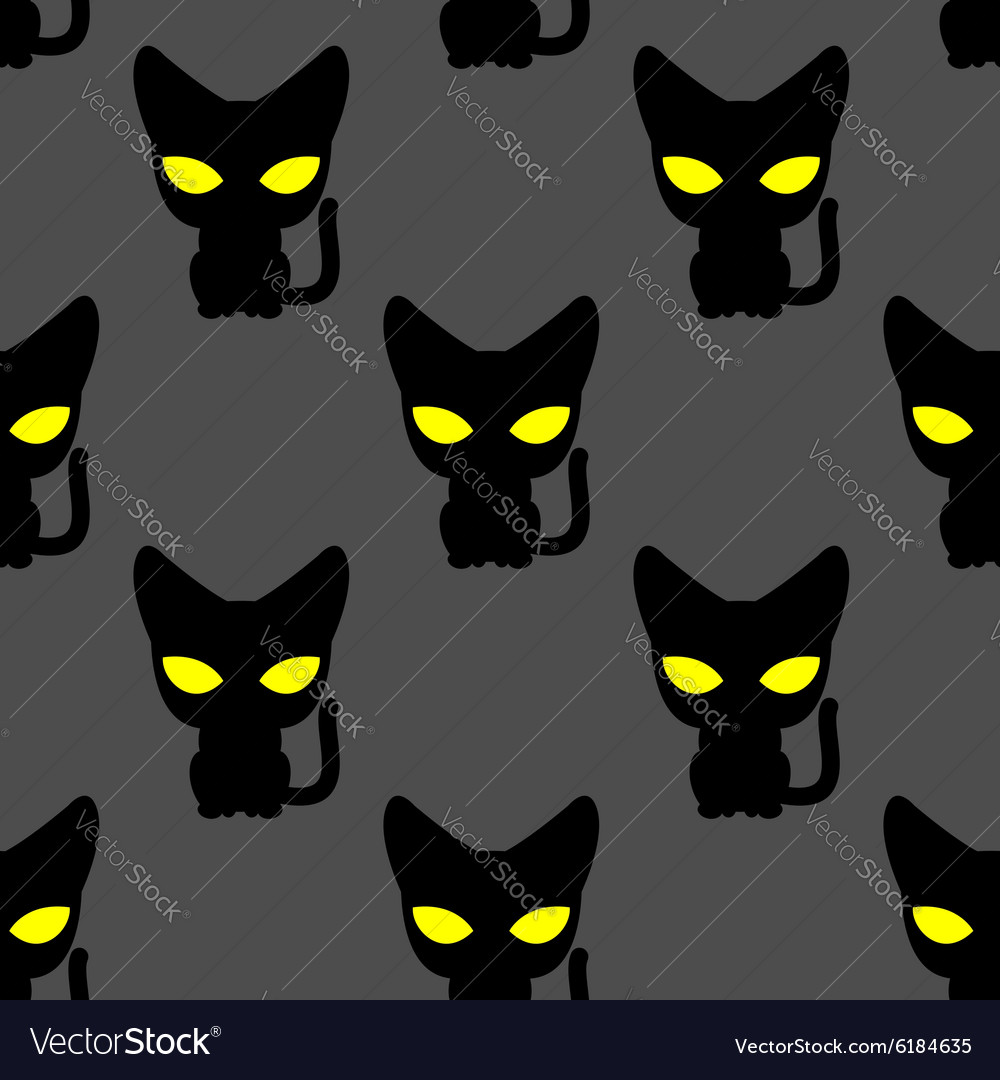 Black cat with yellow eyes at night seamless vector