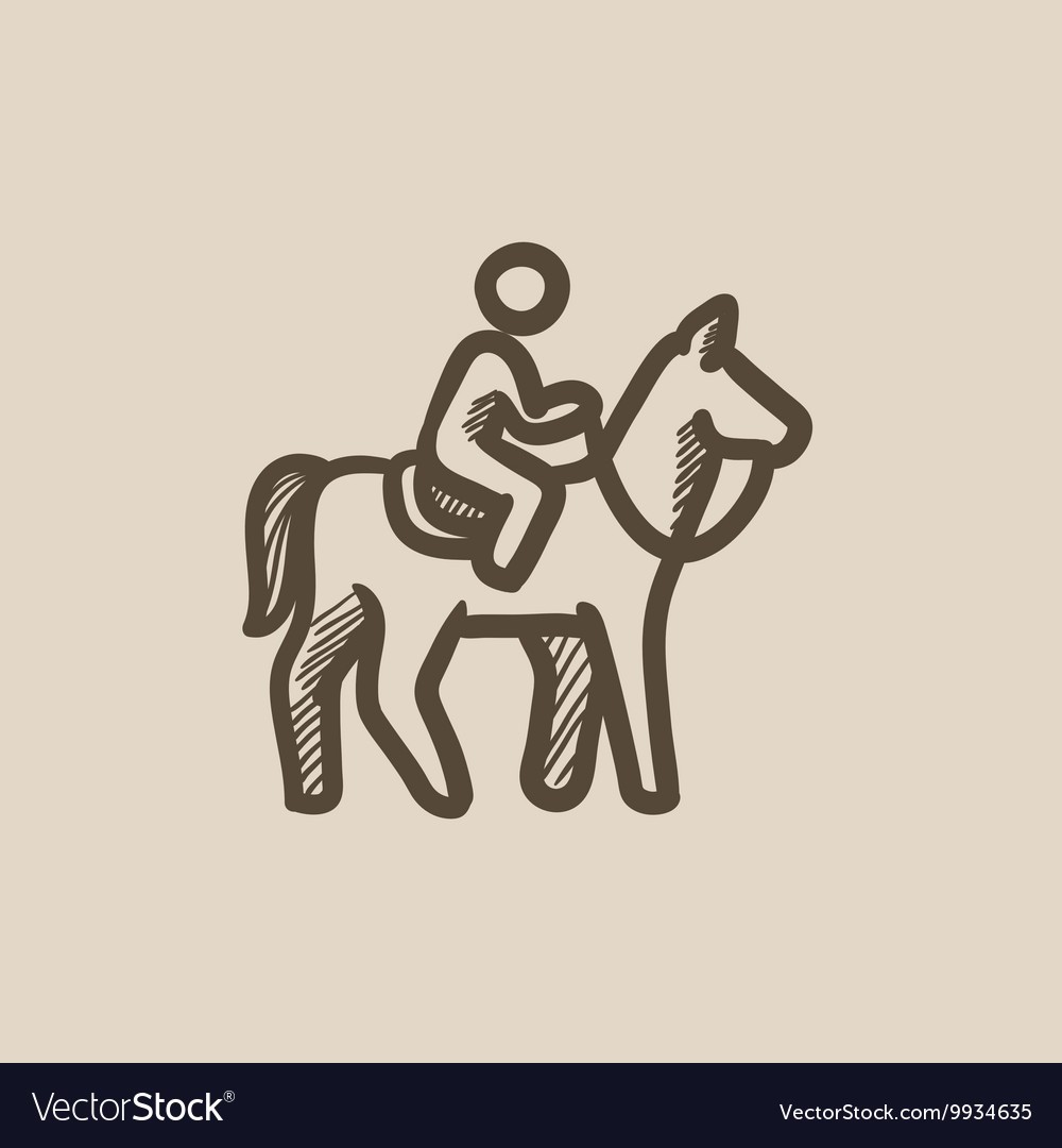 Horse riding sketch icon vector